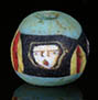Ancient Roman mosaic glass face bead with 3 ancient faces