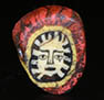 Genuine ancient Roman mosaic red glass cane bead, depicting ancient face  from Egyptian Alexandria