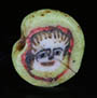 Genuine ancient Roman mosaic green glass cane bead, depicting Medusa head  from Egyptian Alexandria