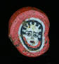 Genuine ancient Roman mosaic red glass cane bead, depicting Medusa from Egyptian Alexandria