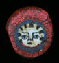 Genuine ancient Roman mosaic red glass cane bead, depicting ancient face of Medusa from Egyptian Alexandria