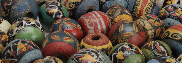 Ancient Egyptian, Greek and Roman mosaic glass beads with face, lotus, petals, wreath, wave, checkerboard pattern